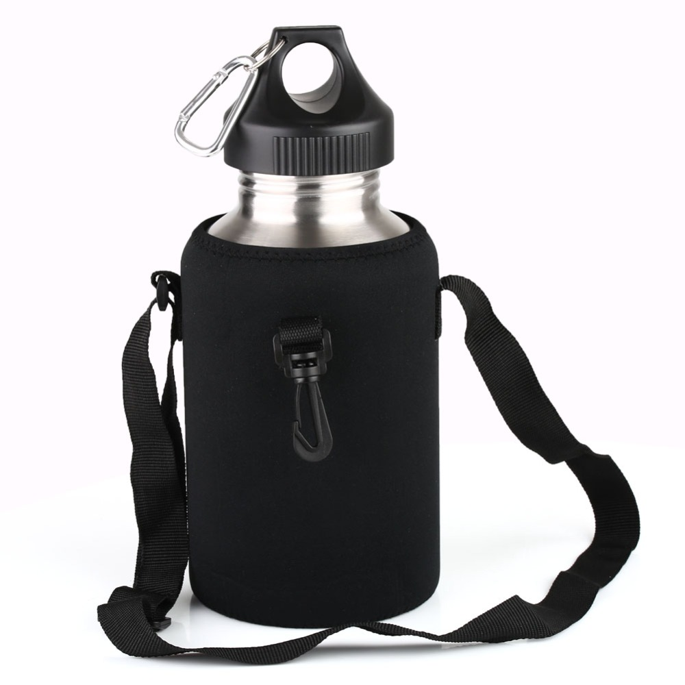 2L LARGE Stainless Steel Water Drink Bottle Cycling Sports & Carrier Bag Holder