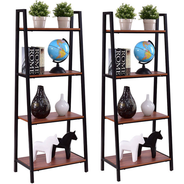 Giantex 2pcs 4 Tier Ladder Storage Bookshelf Living Room Wall Bookcase Bundle Modern Shelf Home Furniture HW55458