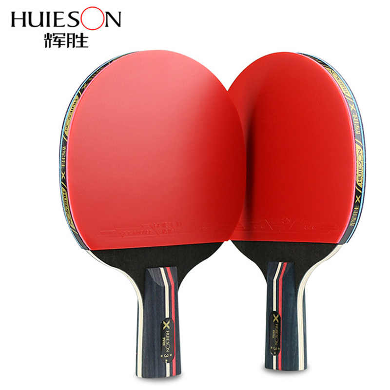 Huieson Rubber Table Tennis Rackets 1 Pair Professional Carbon Pingpong Bat Blade Long Pimples Penholder Paddle Case Bag 3 Balls