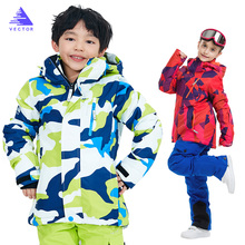 2019 New Brand Boys/Girls Ski Suit Waterproof Pants+Jacket Set Winter Sports Thickened Clothes Childrens Suits