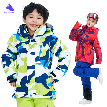 Boys/Girls Ski Suit Waterproof Pants+Jacket Set Winter Sports Thickened Clothes Children's Ski Suits Sports Suits