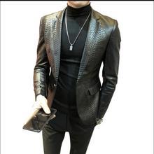 M-4XL новая мужская куртка из искусственной кожи корейский Тонкий костюм пальто повседневный костюм Молодежный Змеиный узор куртка размера плюс одежда