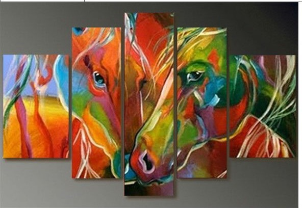100% hand painted oil painting, abstract oil painting art deco horse combination, free shipping