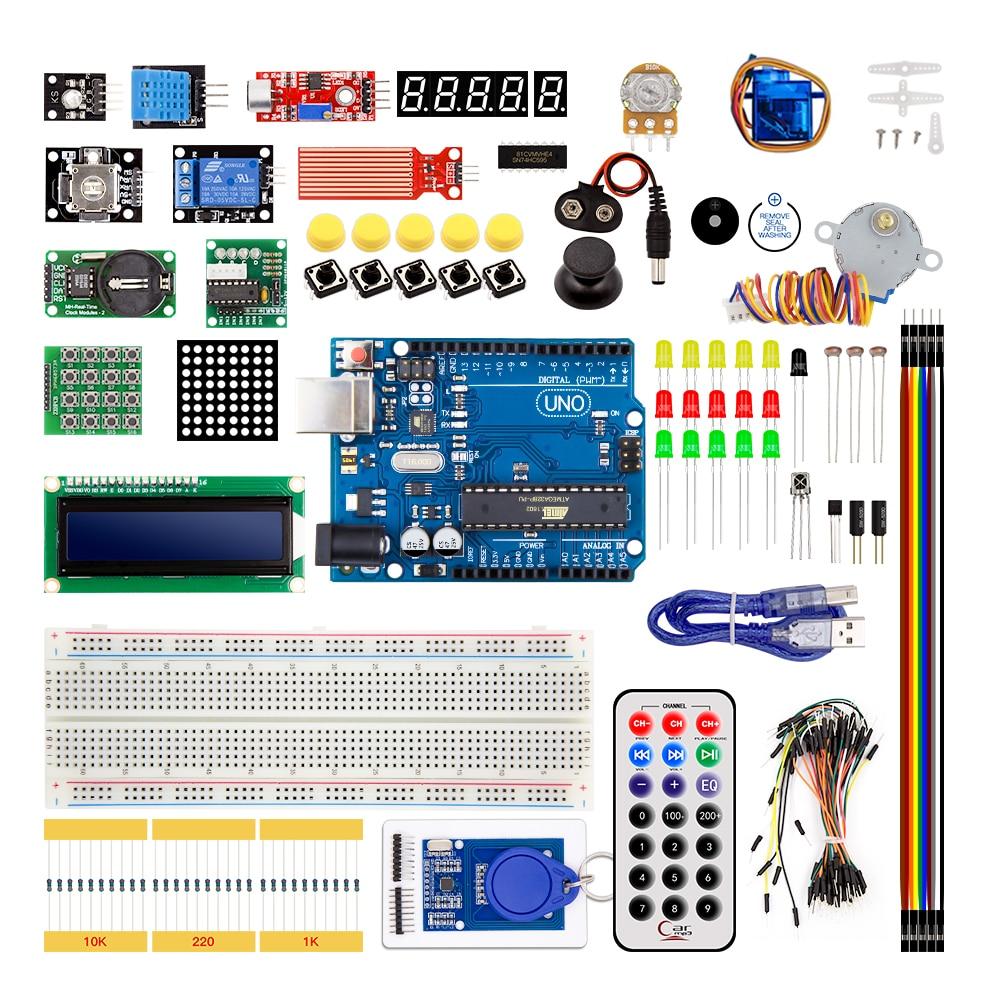 UNO R3 КОМПЛЕКТ Модернизированная версия для Arduino DIY Starter KIT RFID узнать люкс шаговый двигатель + ULN20031 комплект