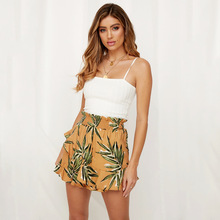 Casual Women Skirt Shorts Loose Elastic Waist Boho Floral Print Ruffle Chiffon Beach Fashion High Wide Leg Trousers