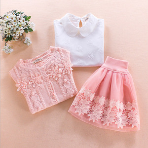 Image 4 - Childrens clothing set 2017 autumn winter Sweater coat+shirt+skirt 3pcs lace flowers Kids girls cotton clothes 7 8 10 13 years