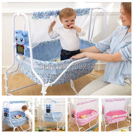 100% Cotton Baby Sleeping Bed Automatic Electric Baby Swing Cribs For  Newborn Baby With Cartoon