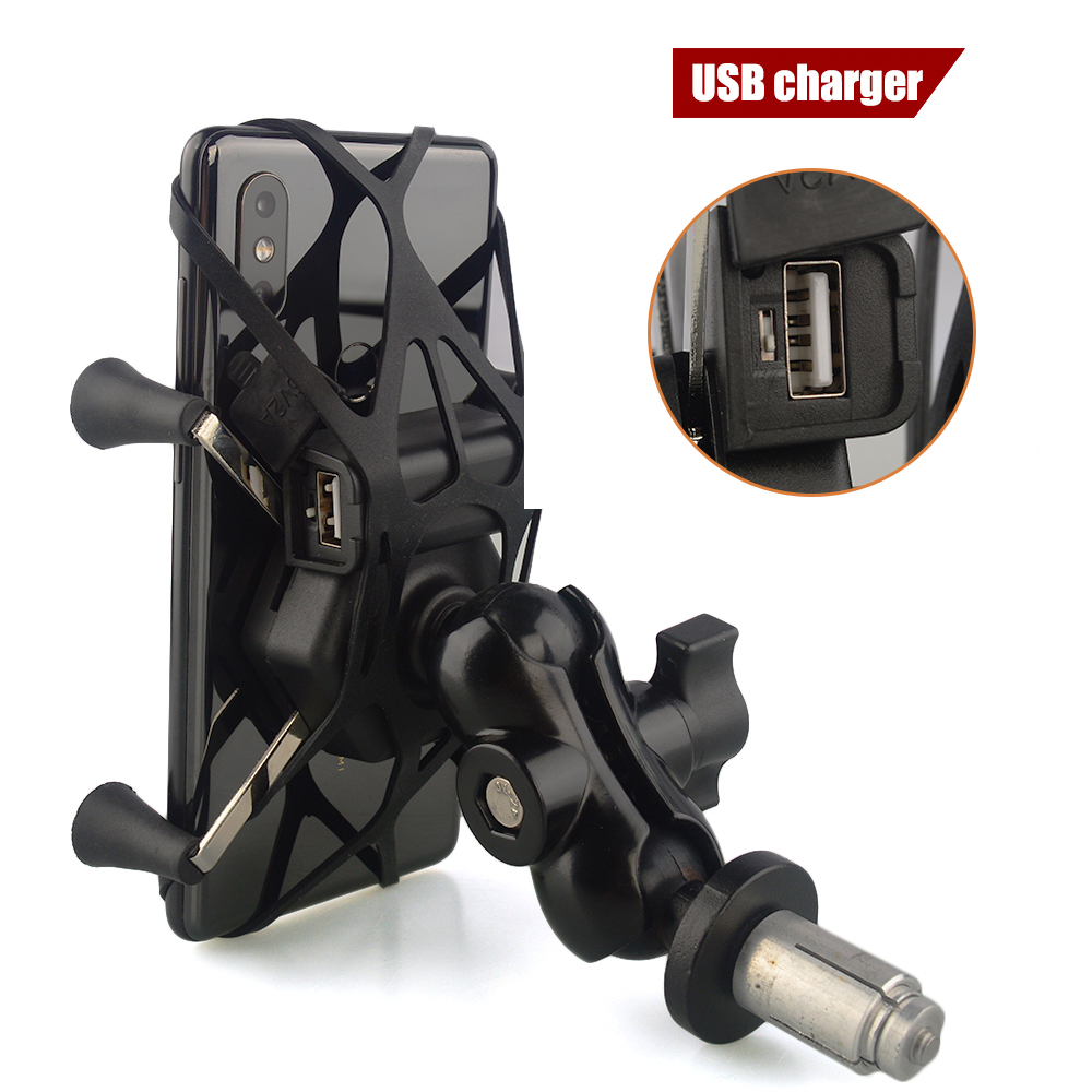 Suporte do telefone garfo haste suporte de montagem motocicleta gps suporte de navegação para yamaha yzf r1 2002-2017 r6 2006-2017 r1m carregador usb