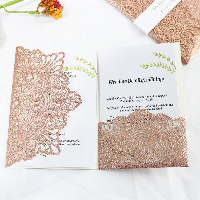 Oro rosa inviti di nozze con la banda di pancia avvolge brillantini da sposa annuncio stampa personalizzata-in Biglietti e inviti da Casa e giardino su  Gruppo 1