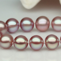 Gold color buckle 7 8mm natural freshwater purple round pearl charms gems diy necklace making 18 inch AAA BV250