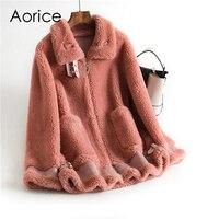 Pudi Winter women 30% real wool fur coat collar Buckle warm jacket sheep shearling girl fur coats lady Long jacket OMS912