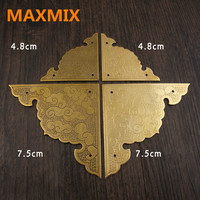 MAXMIX 48mm 75mm Antique Copper Angle Sheet Angle Flower Chinese Furniture Accessories Pure Copper Brass Paste