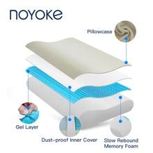 NOYOKE Memory Foam Pillow Cooling Gel Surface Breathable Softness Neck Support Pillow with Velvet Pillowcase