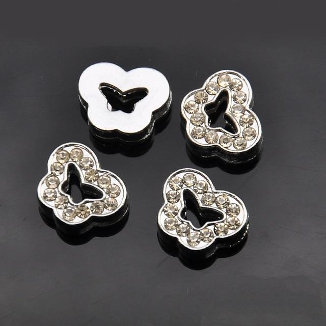 5pcs 8mm Silver Rhinestone Erfly Slide Charms Beads Diy Bracelets Wristbands Belt Band