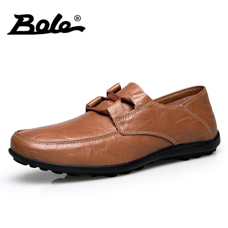 Bole 37-48 tamaño grande ocasionales de los hombres Zapatos moda diseño Encaje a mano cuero Zapatos conducción Mocasines pisos zapatos hombres sneakers