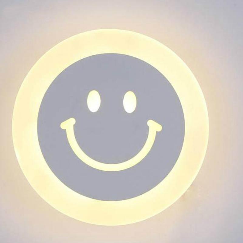 Intérieur souriant visage lampes murales 12 w mur LED lampe acrylique lumières chambre lumière allée couloir Ac85-265v applique