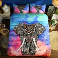 AHSNME Colorful Elephant Bedding Set Quilt Cover + Pillowcase US Bed Sets Adults King Queen Gypsy Indian Hippie Bedclothes