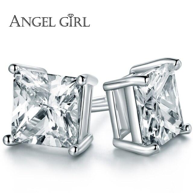 Angel Trendy Por Princess Cut 8 6 4mm White Gold Color Cubic Zirconia