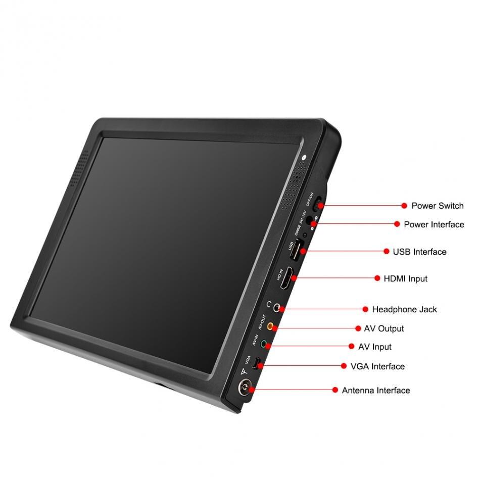 Junke hd tv portátil 12 Polegada digital e analógico led televisores suporte tf cartão usb leitor de vídeo áudio do carro televisão DVB T2 - 4