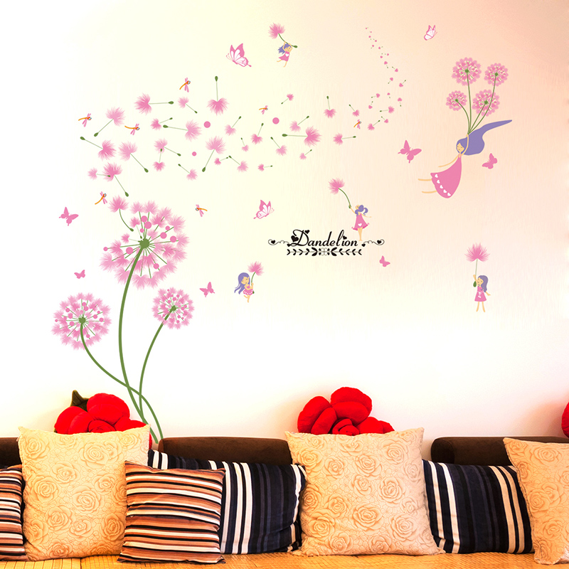 [SHIJUEHEZI] Pink Dandelion Wall Stickers Flower Angel Wall Decals Vinyl  DIY Home Decor For Living Room Kids Room Decoration In Wall Stickers From  Home ...