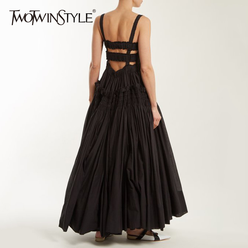 TWOTWINSTYLE Sexy Backless Dress Women Sleeveless Strapless Mesh Patchwork Tunic High Waist Maxi Party Dresses Summer Elegant