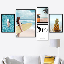 Girl Surfboard Pineapple Palm Tree Beach Wall Art Canvas Painting Nordic Posters And Prints Pictures For Living Room Decor