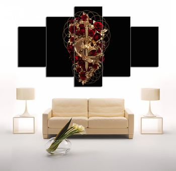 Sword Skull Red Rose Unframed 5 Pieces Set Print Modern Gothic Style Wall Art
