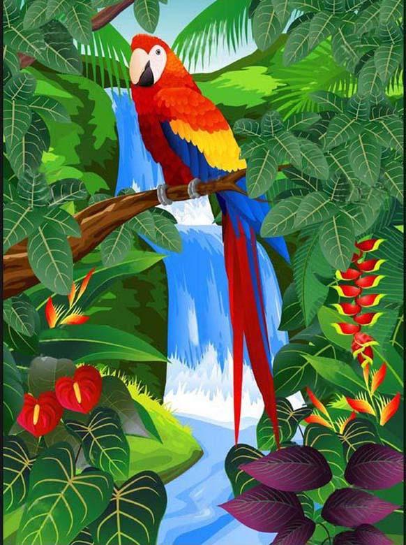 Full Square/Round Drill 5D DIY Diamond Painting parrot waterfall Embroidery Cross Stitch Mosaic Rhinestone Decor