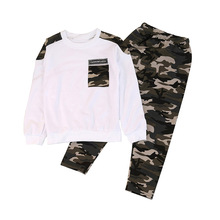 цена на Children Baby Clothes for Boys Camouflage Pattern 2pcs Autumn Cotton Long Sleeve Casual T-shirt Tops Pants Outfits Set