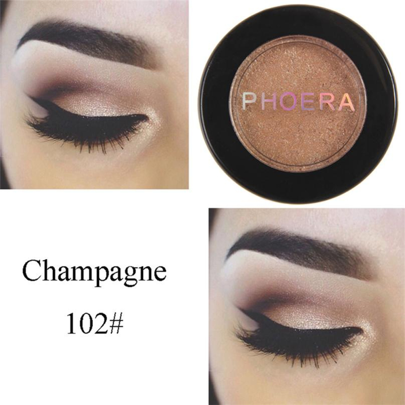 PHOERA Single color Eyeshadow Glitter Shimmering Colors Eyeshadow Metallic Cosmetic shimmer highlighter  Long-lasting Eyeshadow