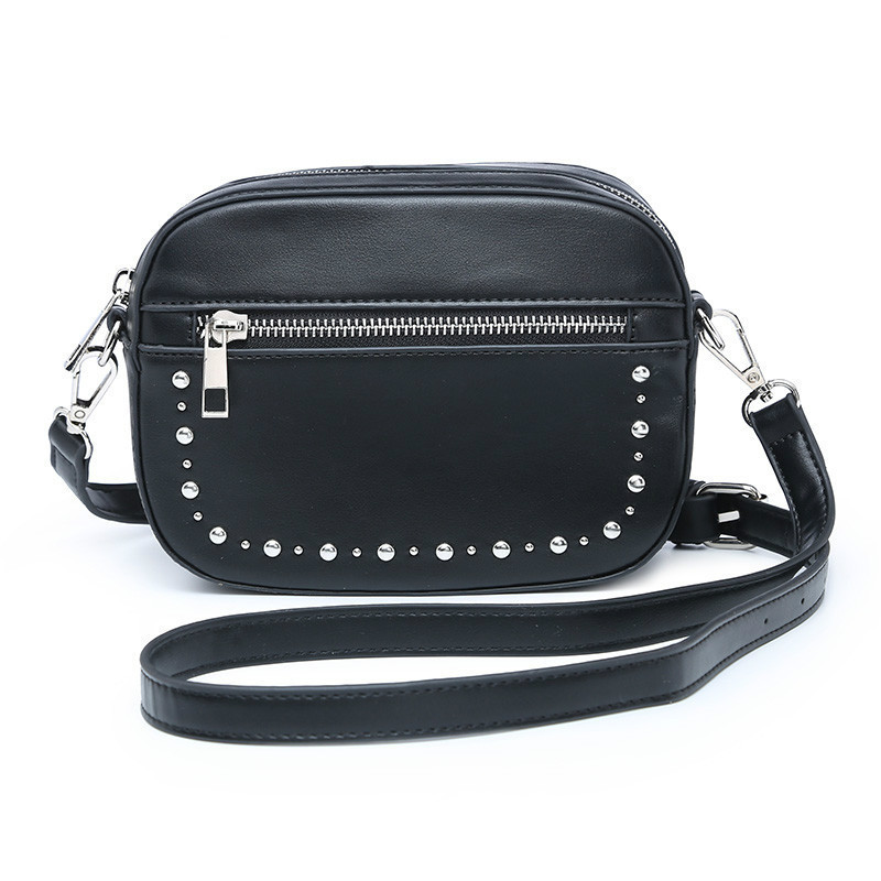 Punnk Rivet Large Capacity Black Color  Waist Bag PU Leather Fashion Pillow  Pack 2 Layer Zippers Phone Pouch Punk Belt Bag(China)