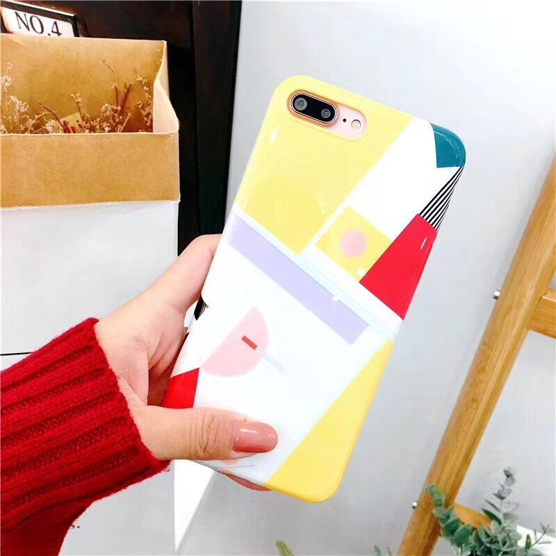 New Arrival Hot Selling Cellphone Case For iPhone7 7Plus Geometric Grid Check Print Glossy Silicone Soft Smart Phone Back Covers