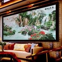 Китайский пейзаж DIY ленты вышивка живопись Рукоделие 3d печати вышивки крестом комплект Незаконченные стены украшения подарок корабля