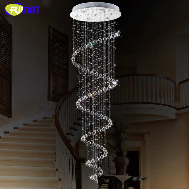 FUMAT Modern K9 LED Spiral Living Room Crystal Chandeliers Lightings Fixture for Staircase Stair Bedroom Hotel Hall Chandelier