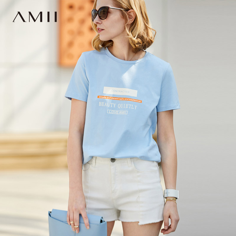 Amii Casual Women Vogue T-Shirts 2018 Summer Print O-Neck Short Sleeve Tees Tops