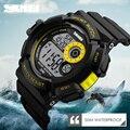 Skmei hombres de la marca de relojes deportivos impermeables hombres multifunción led personalizado estudiante reloj digital grande del dial negro relojes de pulsera