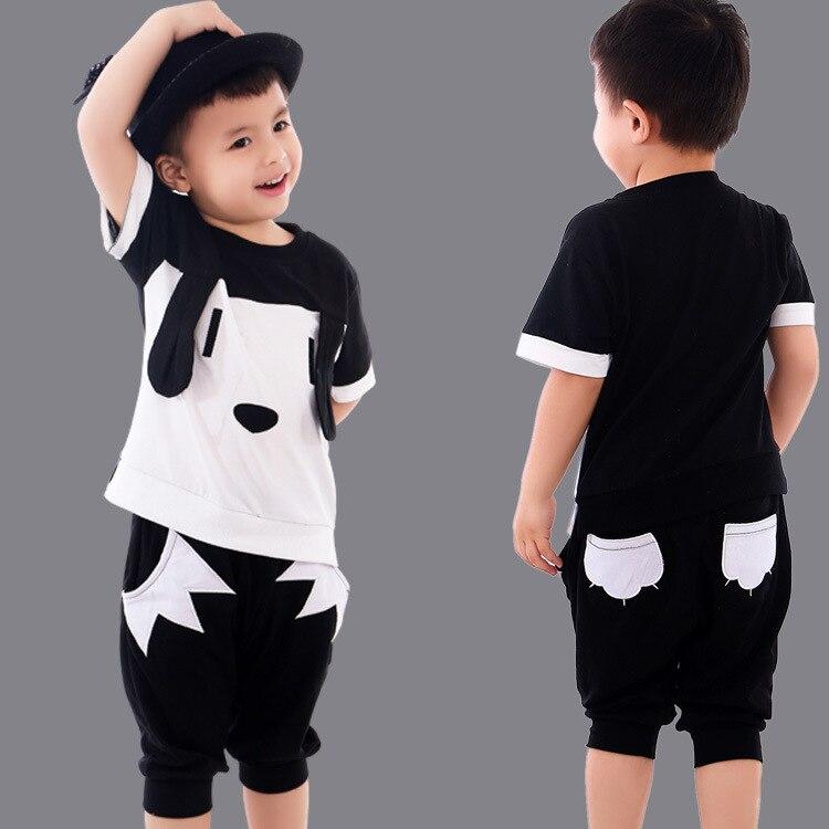US $5.54 22% OFF|Kinder Jungen Kleidung Set 2018 Sommer Baby Kleidung Baumwolle T shirt Shorts Hosen Outfit Kleinkind Sport Anzug Mädchen Kleidung