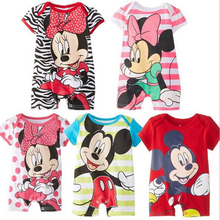 Summer Baby Rompers Cotton Baby Girl Clothes Mickey Baby Boy Clothes Newborn Baby Clothes Roupas Bebe Infant Jumpsuits cheap Covered Button O-Neck Cartoon Polyester Cotton YIGA Short cotton polyester Fits true to size take your normal size Unisex