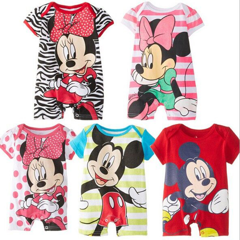 Summer Baby   Rompers   Cotton Baby Girl Clothes Disney Mickey Baby Boy Clothes Newborn Baby Clothes Roupas Bebe Infant Jumpsuits
