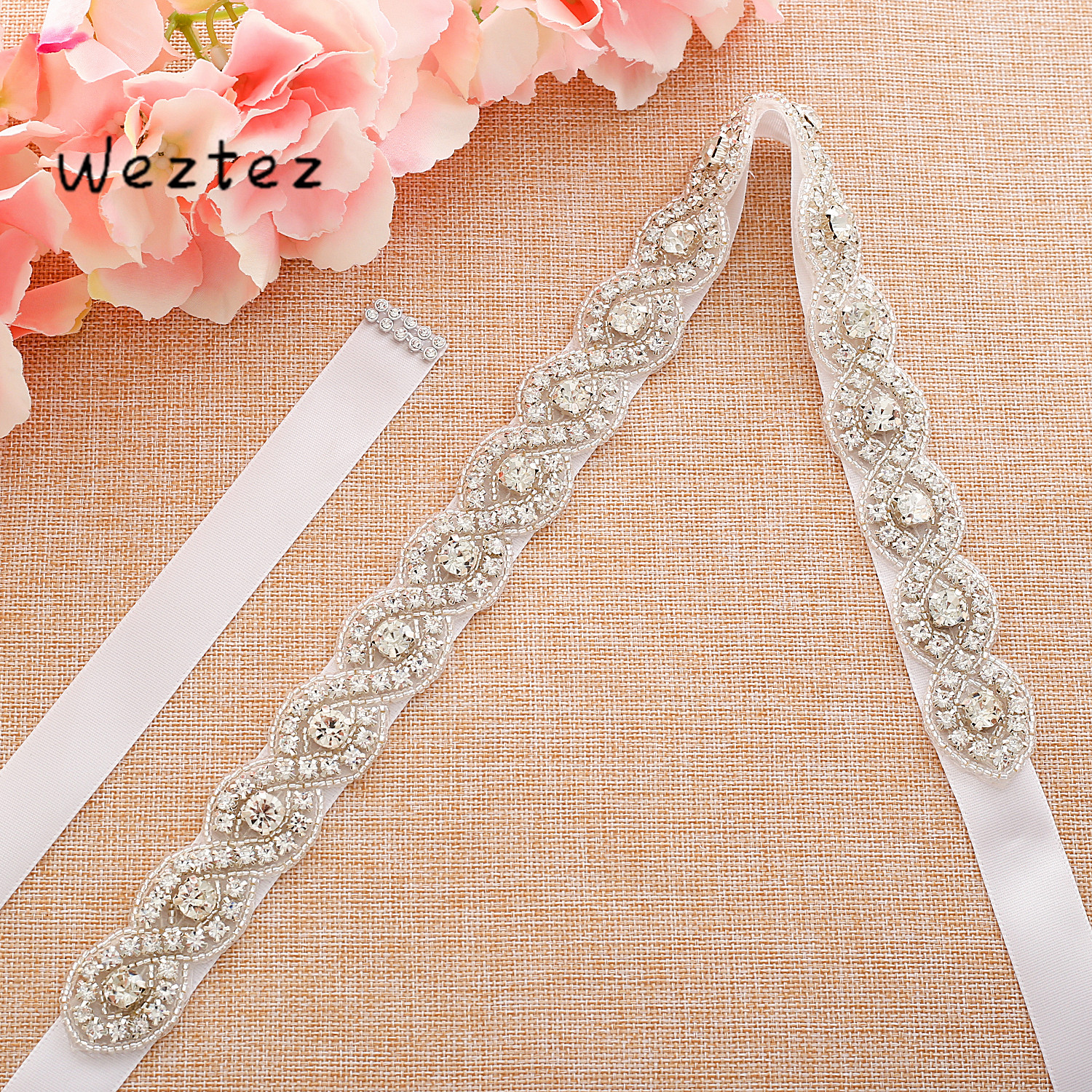Sliver Bride Belt Rhinestone Wedding Belt Handmade Pearl Crystal Wedding Belt For Wedding Dress SD108S
