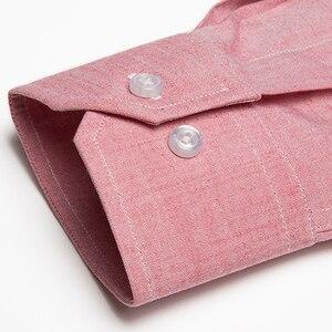 Image 4 - Vestido informal de lino y algodón para hombre, camisas de manga larga, bolsillo tipo parche abotonada, corte Regular, trabajo semiformal, Tops gruesos, camisa