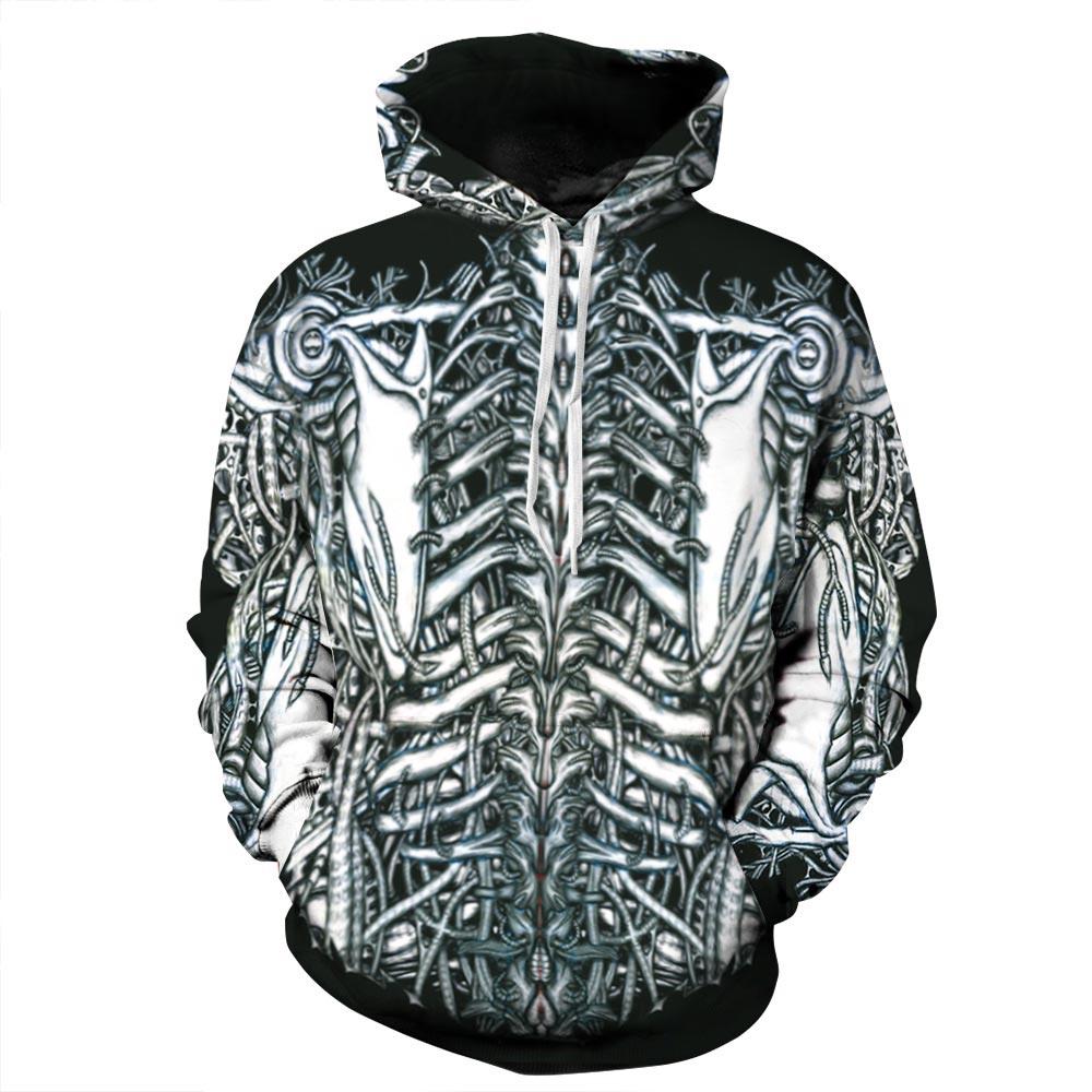 Fashion Men women Hoodies With Cap Print Skulls Skeleton Hoody Autumn Winter Tops Hooded 3d font