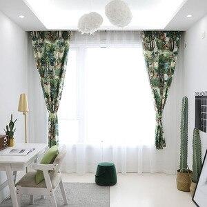 Image 2 - 유럽 스타일의 나무 녹색 식물 인쇄 침실 거실 부엌 홈 장식 창 치료 드레이프 블라인드