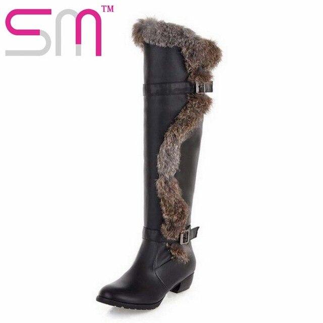 Moda 2017 de piel de conejo de las mujeres sobre la rodilla botas de piel gruesa invierno de las mujeres botas de tacón grueso botas de invierno para las mujeres de gran tamaño 34-43