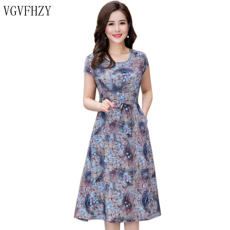 Vestidos de verano de las Mujeres Nuevo 2018 nueva moda de mediana edad imprimir vestido suelto Casual manga corta más vestido largo del tamaño Vestidos y834