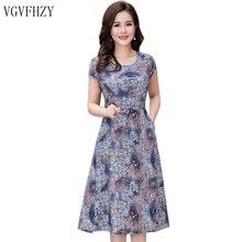 Для женщин летние платья Новинка 2018 года среднего возраста модный принт свободное платье Повседневное короткий рукав плюс Размеры длинное платье Vestidos Y834