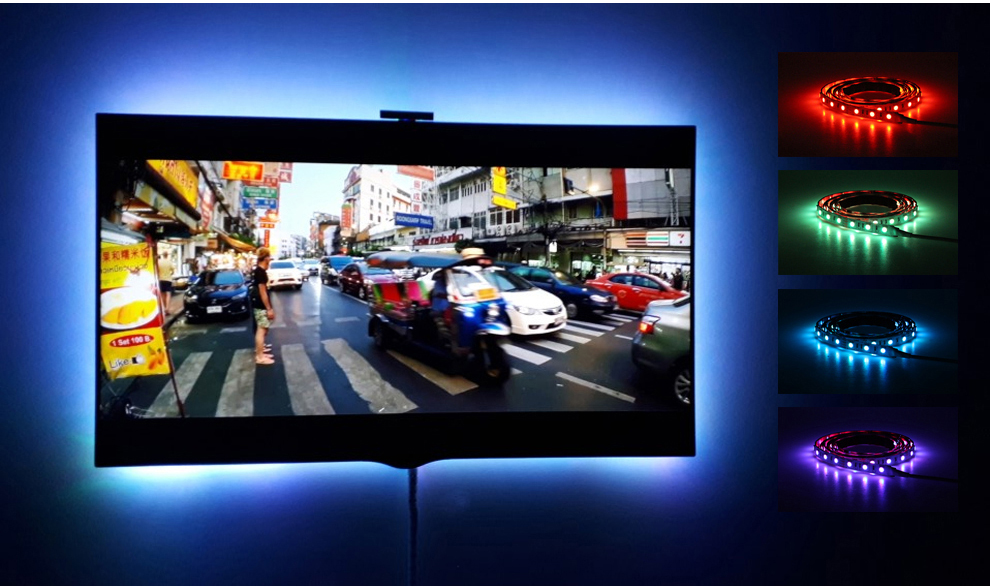 HTB1NqLfO6DpK1RjSZFrq6y78VXaY USB LED Strip 5050 RGB Changeable LED TV Background Lighting 50CM 1M 2M 3M 4M 5M DIY Flexible LED Light.