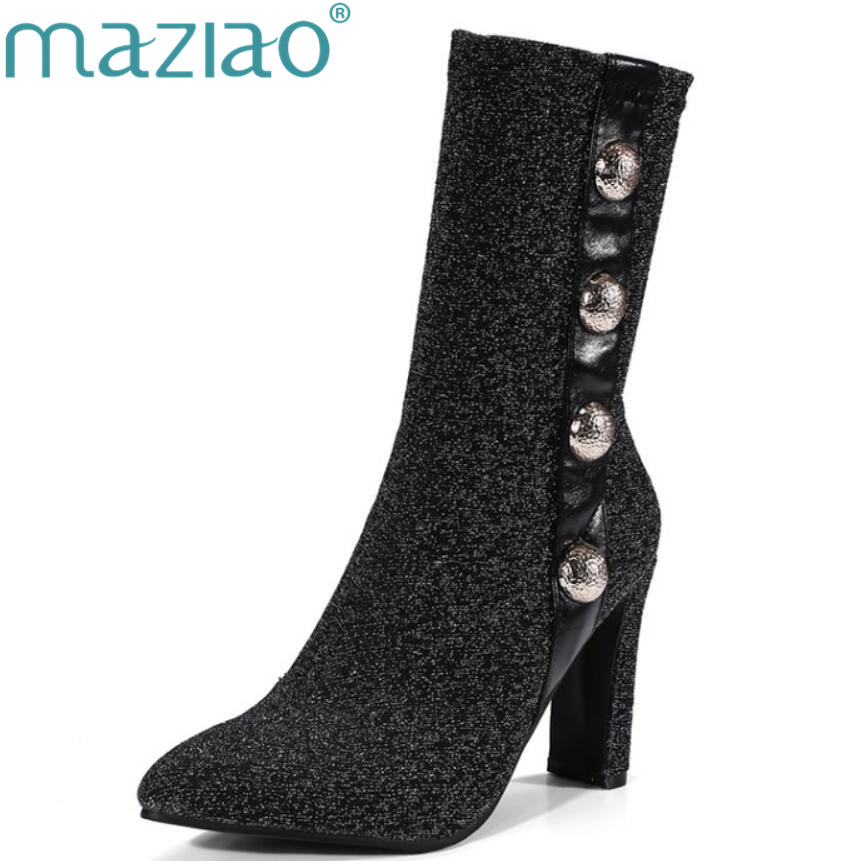MAZIAO Fashion Women Stretch Summer Ankle Boots pointed toe Slip On High Heels Elastic Sock Botas Female Short Booties big size