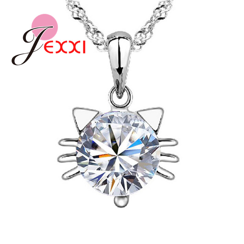 Wholesale Gift Necklaces 925 Sterling Silver Purple Cubic Zirconia Kitty Cat Face Pendant Necklace  For Lady Jewellery Party
