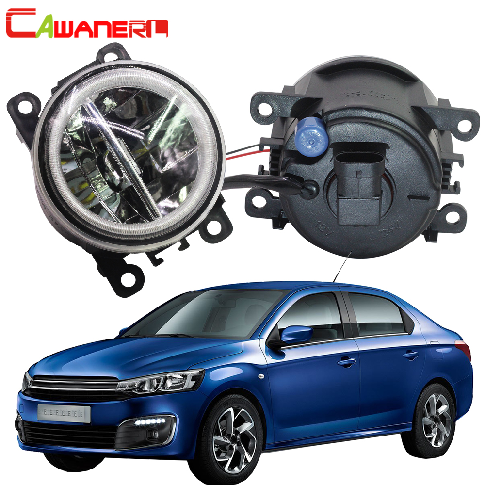 Cawanerl Car 4000LM LED Fog Light Angel Eye Daytime Running Light DRL H11 12V Accessories For